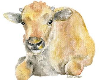 Buffalo Calf Watercolor Painting 4x6 Fine Art Giclee Reproduction - Nursery Art - Farm Animals - Baby Buffalo