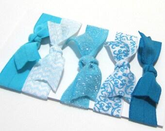 Blue Set of 5 Hair Ties, Ponytail Holders, Elastic Hair Ties, Elastic Bracelet, Adult Ponytail Holder, Ponytail Elastic, Hair Band