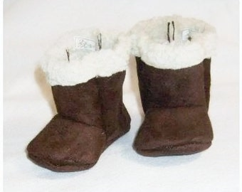 Brown Suede and Sherpa baby Boots, Dark Brown Suede with Sherpa / Baby winter boots / baby snow boots / Infant Boots