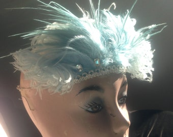 Vintage Pale Blue Feather Head Piece Show Girl Pin Up Burlesque