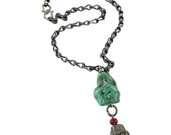 """Antique Chinese Turquoise Necklace Silver 16.5"""""""