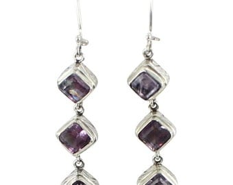 Purple Fluorite Sterling Earrings Faceted 3 Stone