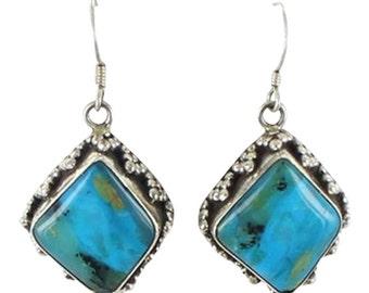 Peruvian Opal Earrings Kite Shape Sterling