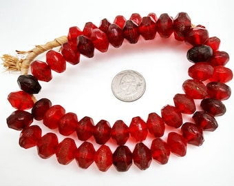 Old Trade Beads, Red Vaseline Trade Beads
