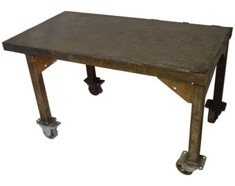 Steel Rolling Coffee Table Work Table Flat Screen TV Stand, Vintage Industrial