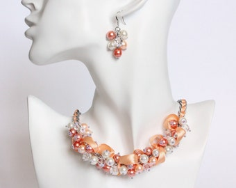 Peach Orange White Bridesmaid Cluster Necklace and Earrings Set