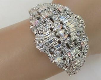 Silver Filigree Bracelet, Lacy Bridal Bracelet, Bridal Filigree Bracelet, Silver Bridal Jewelry, Rhinestone Filigree Bracelet
