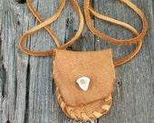ON SALE Buckskin medicine bag , Leather crystal bag , Leather neck pouch , Leather necklace bag