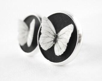 Round Stud Earrings - Eco Friendly Jewelry - Black and White Jewelry - White Stud Earrings -Silver Button Earrings - Butterfly Earring Studs