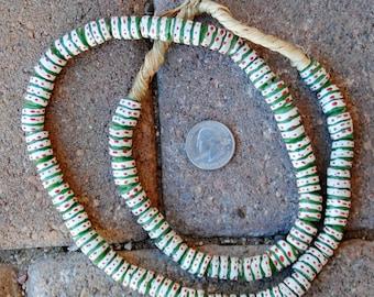 Krobo Beads: Green/White/Red 10x15mm