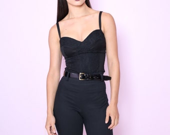 SALE 1 LEFT! Black Lace Bustier Top