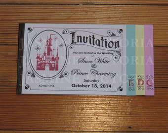 Vintage Disney Inspired E Ticket 4 page Wedding Invitation