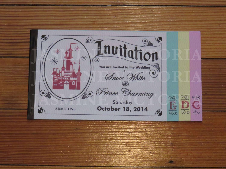 Wedding Invitations Disney: Vintage Disney Inspired E Ticket 4 Page Wedding Invitation