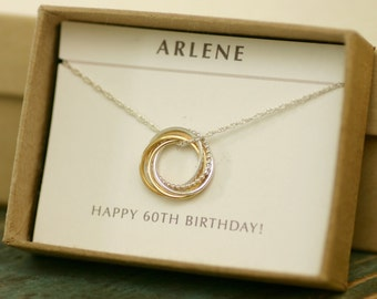 60th birthday gift for her, 6th anniversary gift for wife gift, 6th wedding anniversary, 6 interlocking rings necklace - Lilia