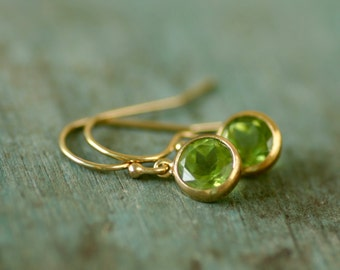 Gold peridot earrings, peridot jewelry, August birthstone jewelry, petite earrings, dainty earrings - Amy