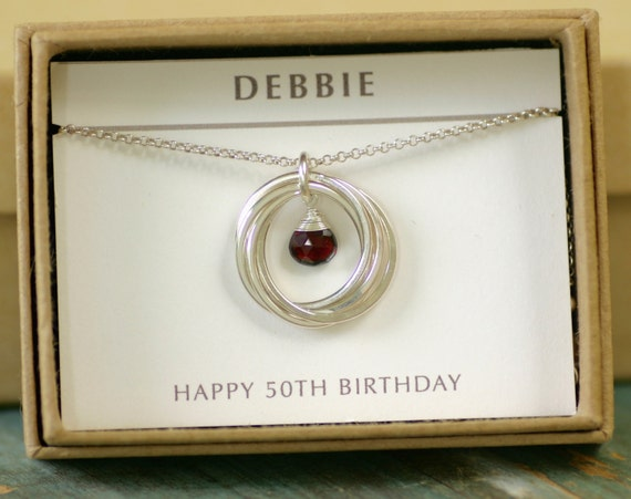 50th Birthday Gift For Women Garnet Jewelry For Her January