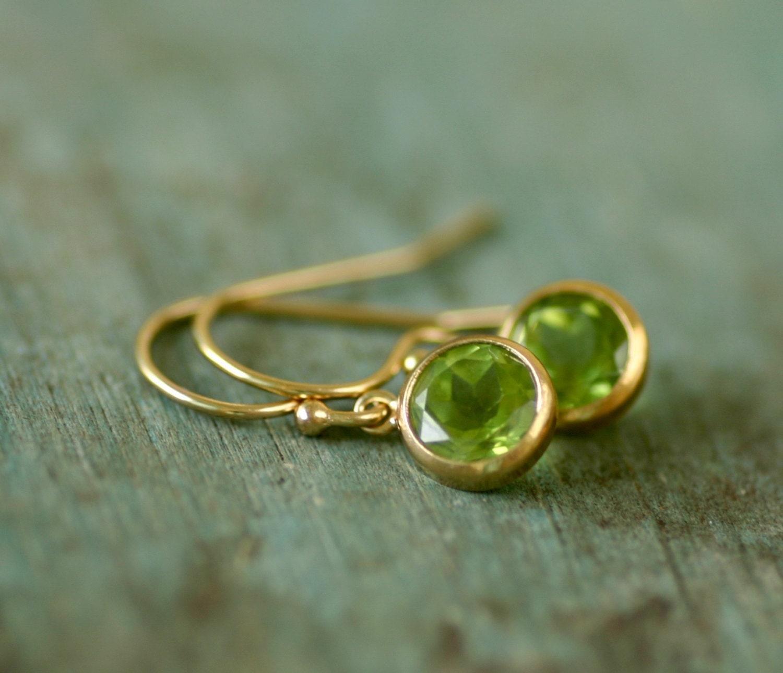 Gold peridot earrings peridot jewelry August birthstone