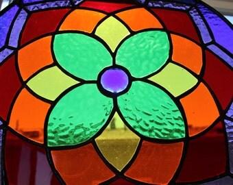 STAINED GLASS SUNCATCHER-Rainbow Window Panel Decoration, Round Glass Medallion, Rainbow Suncatcher, Wedding Gift, Large Rainbow Suncatcher