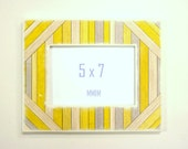 Yellow and Gray Wood Picture Frame -   5 x 7 Picture Frame - Thick Wood Frame, Wall Mount Photo Frame, Picture Frames, Modern Home, Unique
