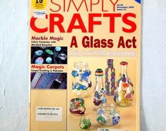 Magazine Simply Crafts from Britain November 1995 Issue Marbling, Calligraphy, Fimo Clay