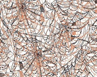 Black and Copper Metallic Spider Webs on White - Potions & Spells from Quilting Treasures - Full or Half Yard Halloween Webs