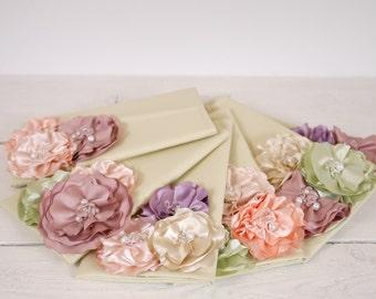 Set of 6 pastel Bridesmaid Clutches | Pastel wedding clutches