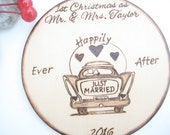 """Just Married ornament -""""Happily Ever After"""" honeymoon car -Personalizable wedding gift or gift tag"""