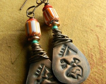 Tribal Southwestern Jewelry Bear Earrings Orange Rustic Copper Wire Wrapped