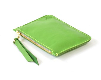 Bright Green Leather Zip Pouch Purse Wallet Handmade