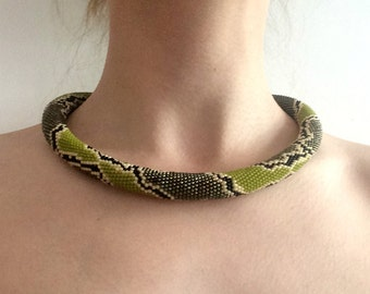 READY TO SHIP Thick Crochet Seed Bead Rope Necklace Bright Green Snake Python Tribal Jungle Camouflage