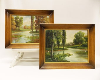Pair of Vintage Framed Landscapes--- Plein Air River Scenes