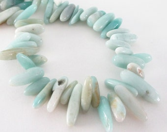 "Amazonite Stick Beads -  Smooth Freeform Irregular Spike - Top Drilled Briolette - Blue Stone Beads - 16"" Strand Jewelry Making"