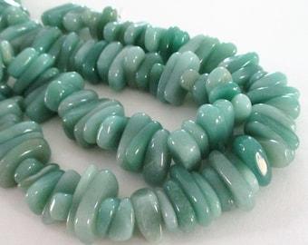 "Green Jade Beads - Chunky Nugget Beads - Green Smooth Freeform Irregular Gemstone - Thick Chip Nugget - 7.5"" Strand - DIY Jewelry Making"