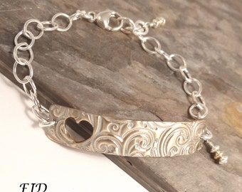 Sterling Silver and Patinaed Bronze Bracelet