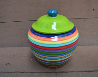 Extra Large Striped Ceramic Cookie Jar or Canister - Rainbow Stripes with Dark Navy Interior with Apple Green Lid and Teal Knob