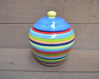 Extra Large Striped Ceramic Cookie Jar or Canister - Rainbow Stripes with Red Interior, Sapphire Blue Lid and Yellow Knob