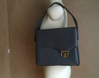 vintage 1960's mod square handbag / box purse / sturdy buckle hardware / vinyl / gray