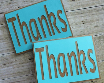 SALE Thanks - Thank You - Any Occasion- Just Because- Homemade Card - Set of 2