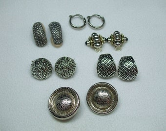 Vintage Lot of Silver Tone Clip  Earrings  6 pairs   lot 12