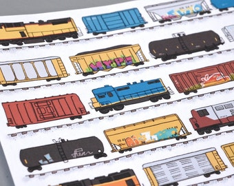 Freight Train Sticker Sheet - Locomotives with Hopper, Tank, and Box Cars