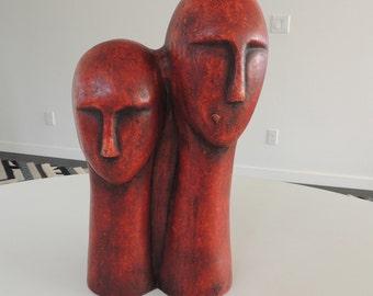 Mid century modern minimalistic heads ceramic sculpture