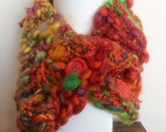 HAND KNITTED SCARF, Hand Spun Wool,  Neckwarmer, warm scarf, made in Melbourne
