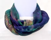 Hand dyed Silk Scarf,  Silk Chiffon Scarf, 52 x 10 inches, Ready to Ship, Made in Australia by SallyAnnesSilks on Etsy S125