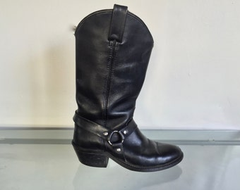 VTG Black Motorcycle Boots Women 6.5