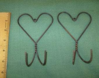 2 Vintage Heart Wire Double Wall Hook Hardware