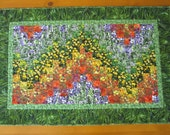 Wall Quilt, Floral Quilt, Art Quilt, Bargello Quilt, Handmade Wall Hanging, Table Quilt, Home Decor, Flowers, Nature Quilt