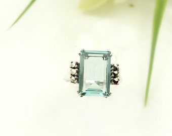 Vintage marcasite ring with paste aquamarine in Art-Deco style || АКВАМАРИН 097