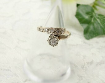 Vintage 9ct gold engagement ring with diamonds || БРИЛЛИАНТ
