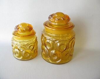 Vintage Gold Jars, Canister, Set, 60s, Amber Glass