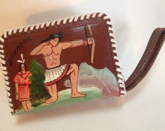 Ecuador Vintage Souvenir Coin Purse Leather Hand Painted Wallet – Ethnic 1970s